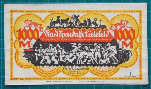 1922 BIELEFELD SILK NOTGELD 1000 MARK YELLOW