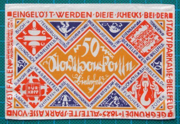 1922 BIELEFELD SILK NOTGELD 50 MARK