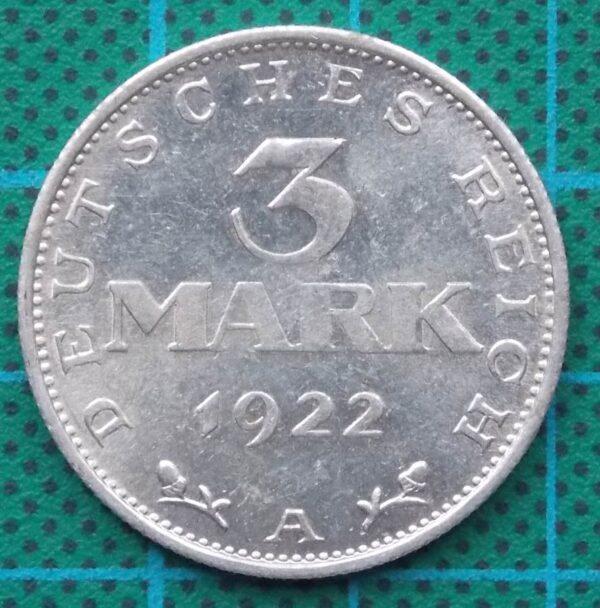 1922 DEUTSCHES REICH 3 MARK ALUMINUM COIN