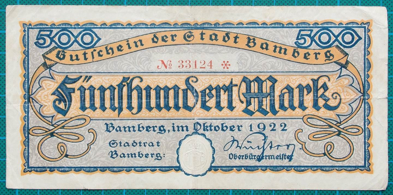 1922 STADT BAMBERG 500 MARK CREDIT NOTE 33124