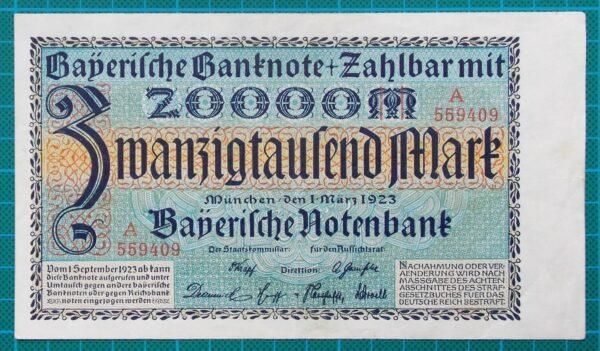 1923 BAYERISCHE NOTENBANK 20000 MARK BANKNOTE