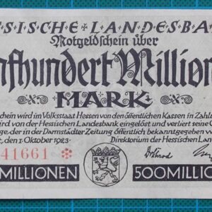 1923 HESSISCHE LANDESBANK 500 MILLION MARK