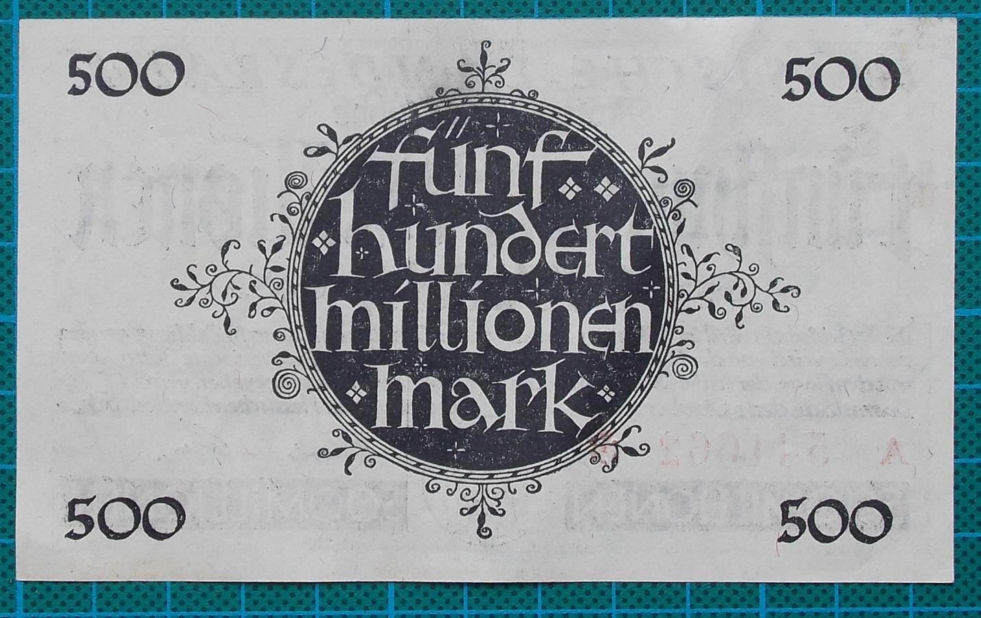 1923 HESSISCHE LANDESBANK 500 MILLION MARK