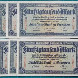 1923 SACHSEN 50,000 MARK EMERGENCY MONEY NOTGELD SET