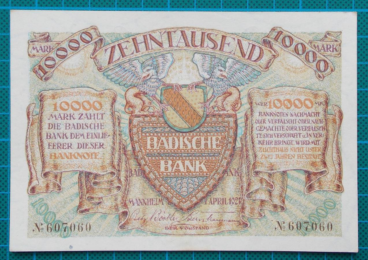 1923 BADISCHE BANK 10000 MARK 607060