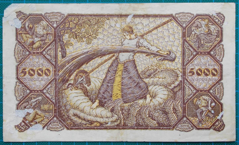 1923 BADISCHE BANK 5000 MARK