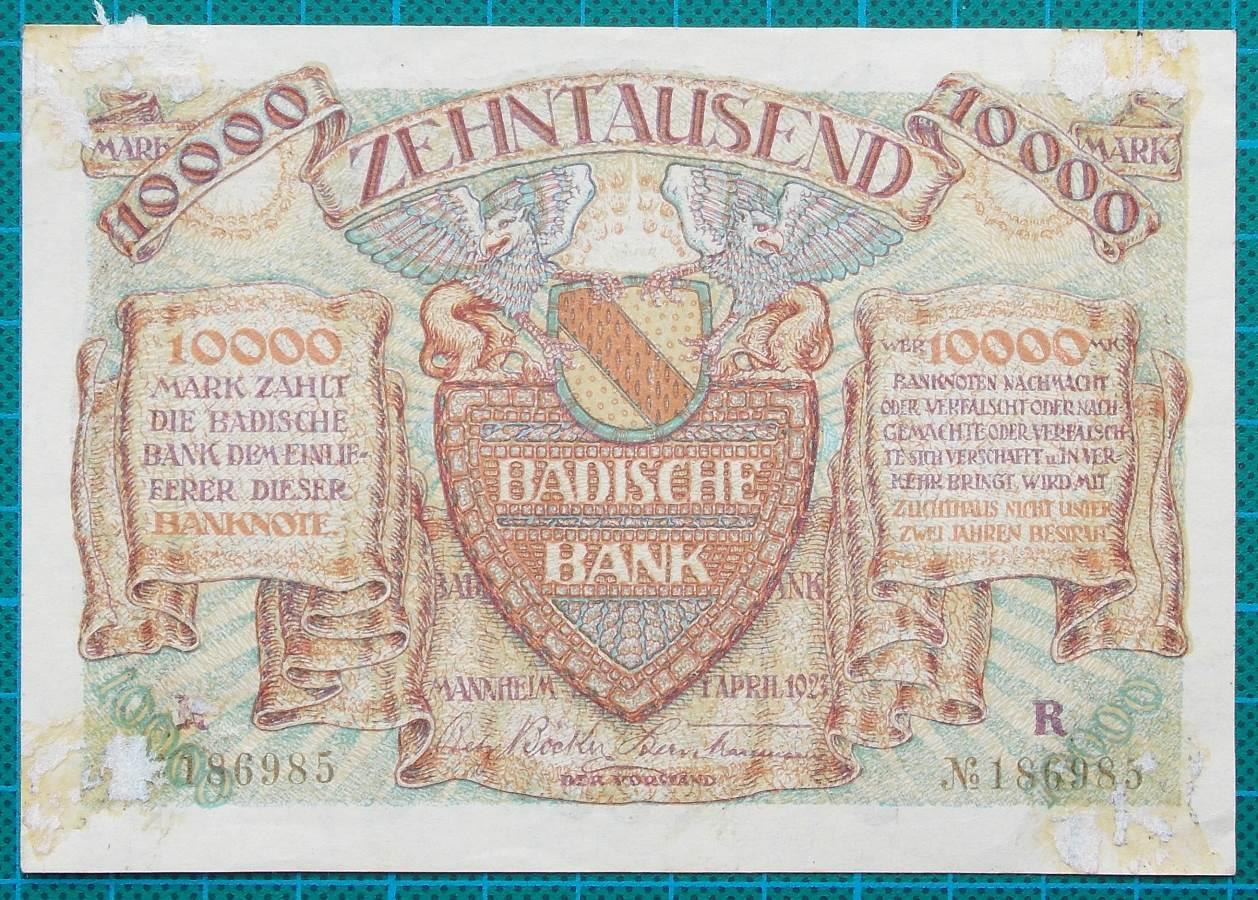 1923 BADISCHE BANK ZEHNTAUSAND MARK 186985