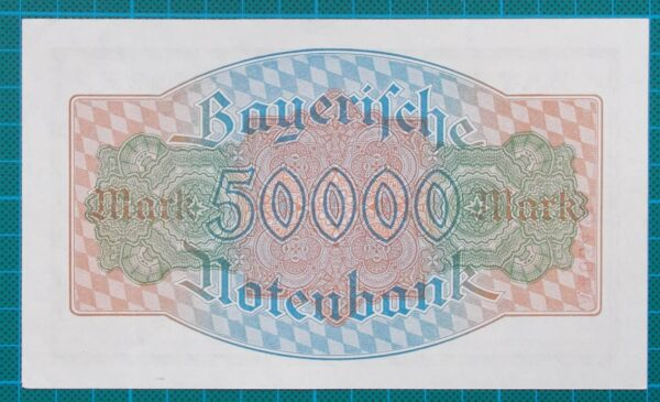 1923 BAYERISCHE BANKNOTE 50,000 MARK A463434