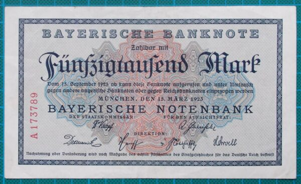 1923 BAYERISCHE BANKNOTE 50000 MARK A173789