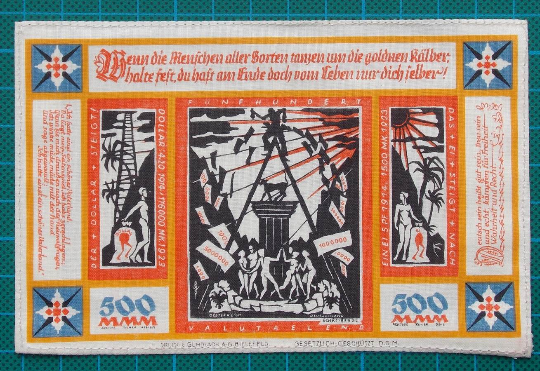 1923 BIELEFELD SILK NOTGELD 500 MARK
