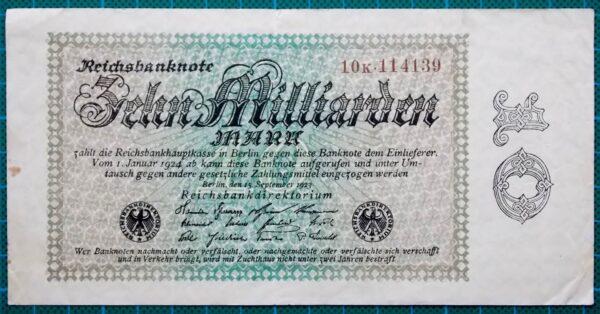 1923 REICHSBANKNOTE 10 BILLION MARK