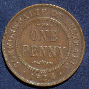1924 Australia One Penny - King George V - B