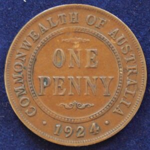 1924 Australia One Penny - King George V - Rare Die Crack