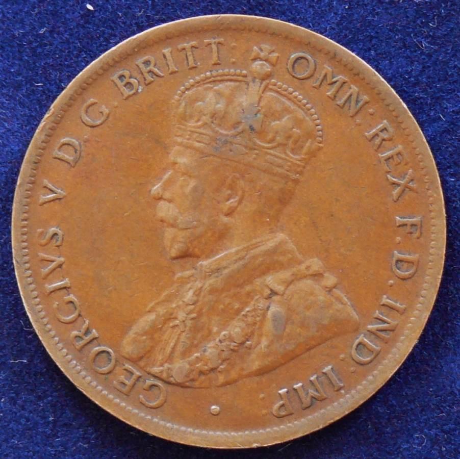 1924 Australia One Penny - King George V - Rare Die Crack