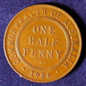 1926 Australia Half Penny - King George V