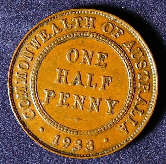 1933 Australia Half Penny - King George V