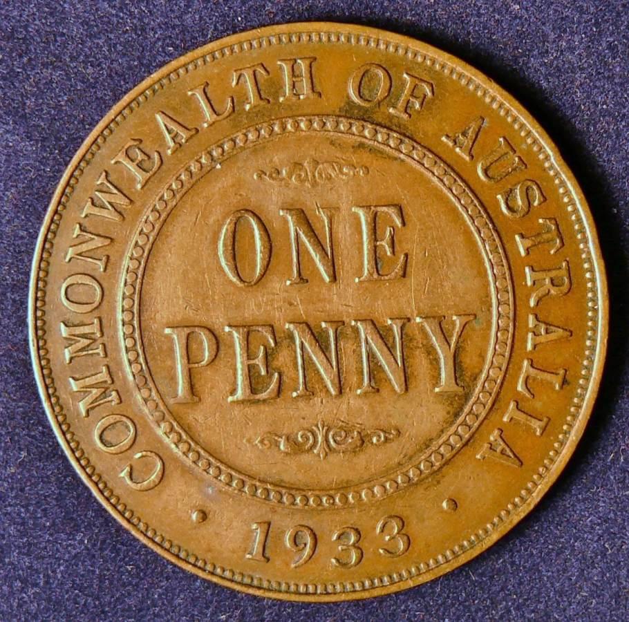 1933 Australia One Penny - King George V