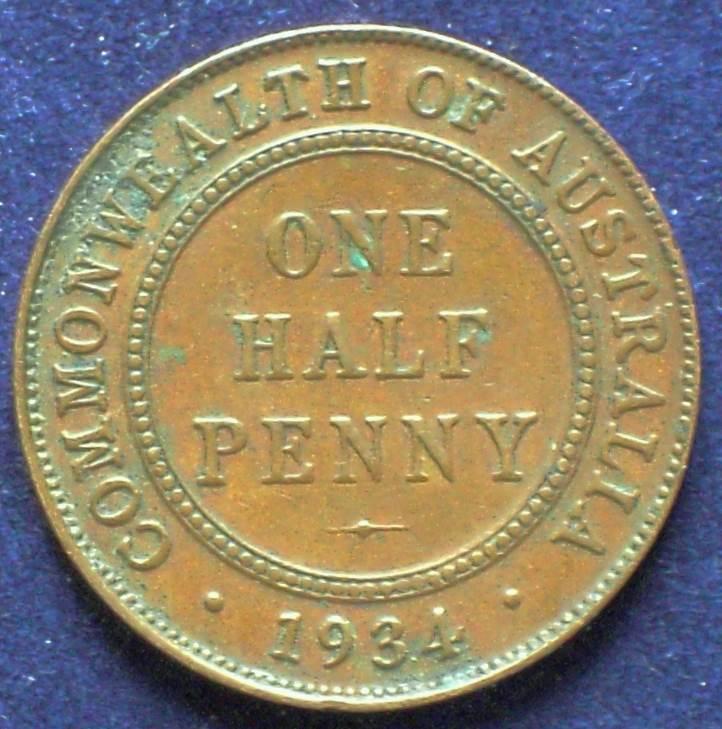1934 Australia Half Penny - King George V