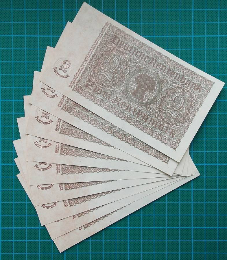1937 RENTENBANKSCHEIN 2 RENTENMARK J02951570 x 10