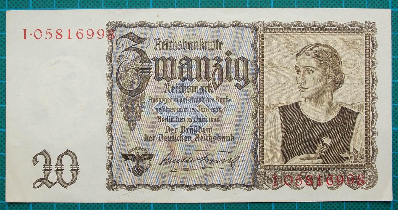 1939 REICHSBANKNOTE 20 REICHSMARK I05816998