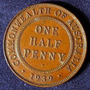 1939 Australia Half Penny - King George VI - A