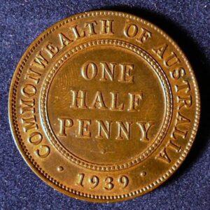 1939 Australia Half Penny - King George VI - B