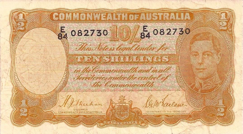 1939 Australia Ten Shillings - E84