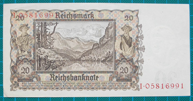 1939 REICHSBANKNOTE 20 REICHSMARK I05816991