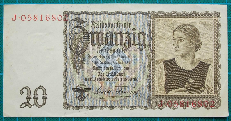 1939 REICHSBANKNOTE 20 REICHSMARK J05816802