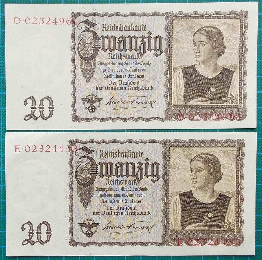1939 REICHSBANKNOTE 20 REICHSMARK PAIR