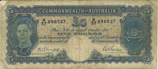 1941 Australia Five Pounds - R 37