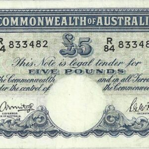 1941 Australia Five Pounds - R 84 Last Prefix