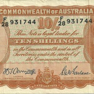 1942 Australia Ten Shillings - F28 - B