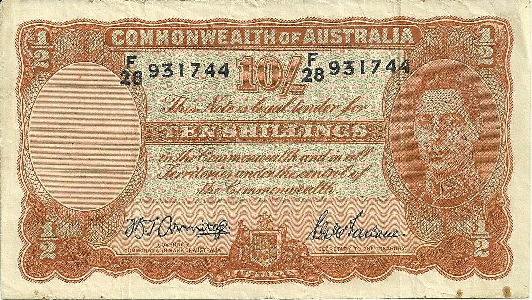 1942 Australia Ten Shillings - F28 - B