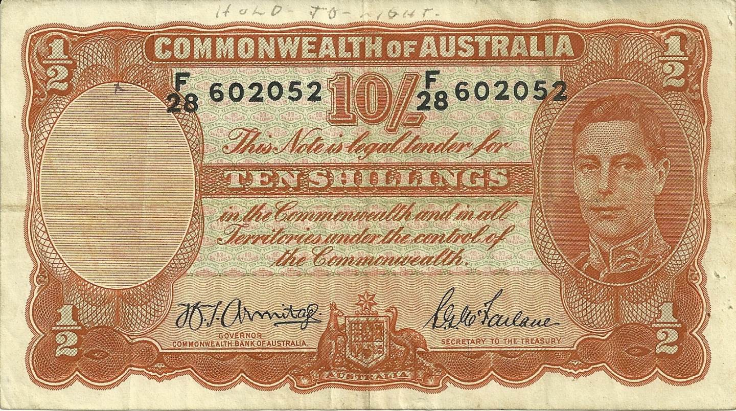 1942 Australia Ten Shillings - F28