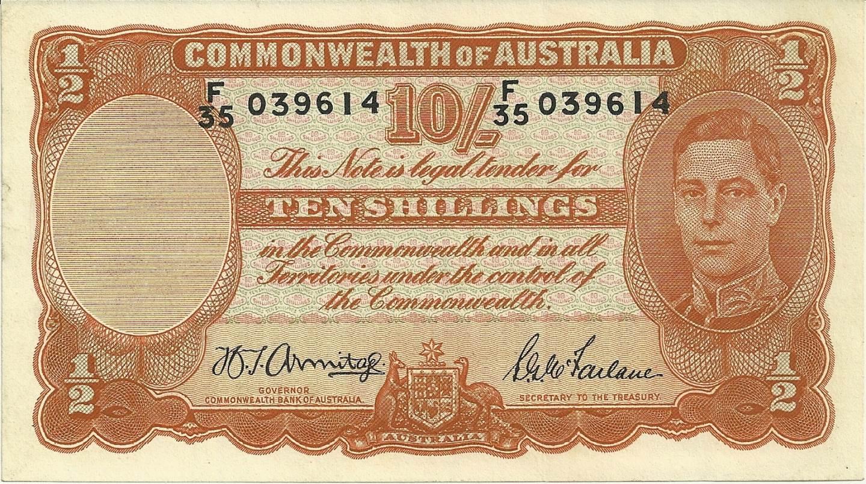 1942 Australia Ten Shillings - F35