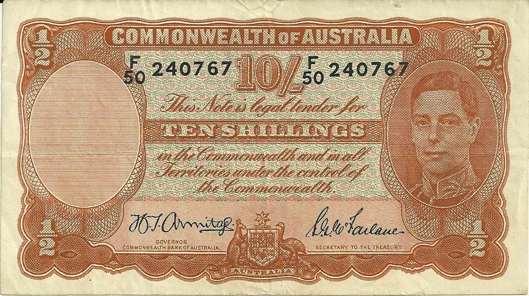 1942 Australia Ten Shillings - F50