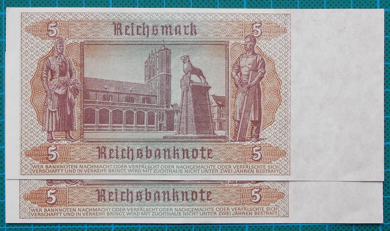 1942 REICHSBANKNOTE 5 REICHSMARK PAIR A14657476-7