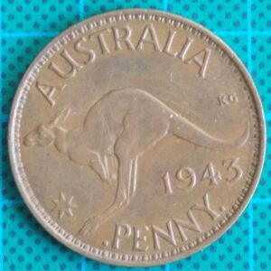 1943 Australia One Penny - King George VI - Die Error