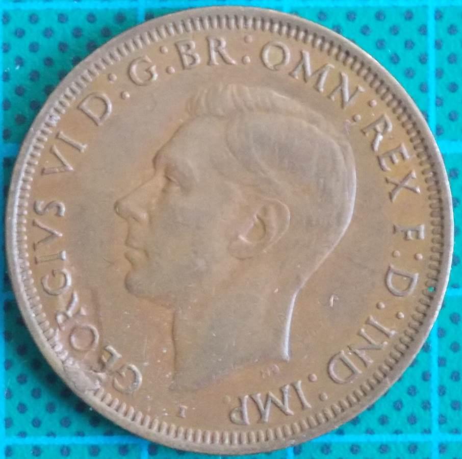 1943 Australia One Penny - King George VI - Die Error