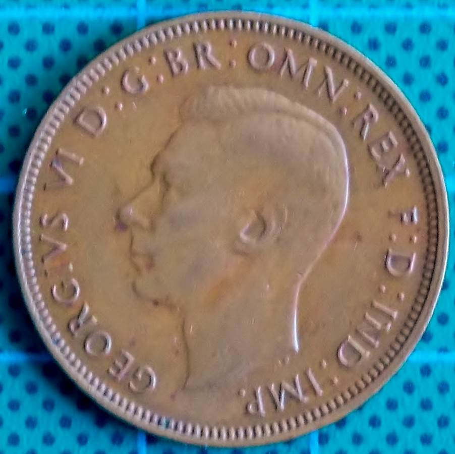 1944 Australia Half Penny - King George VI