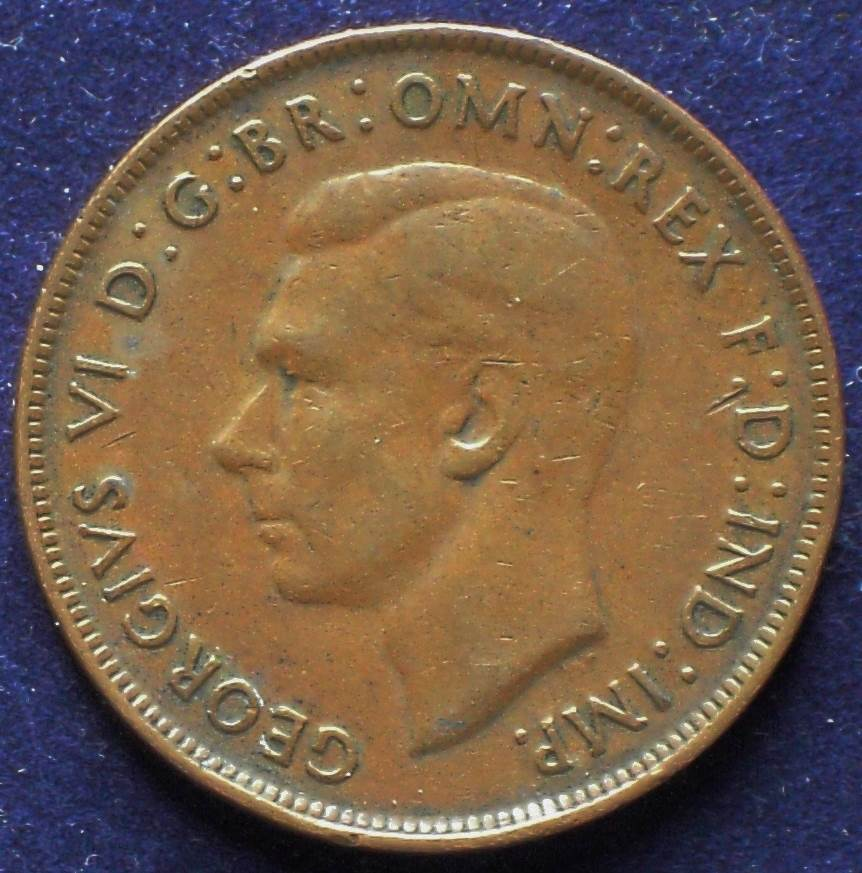 1944 Australia One Penny - King George VI