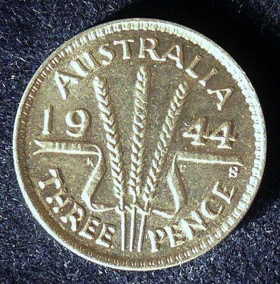 1944 Australia Threepence - King George VI - A