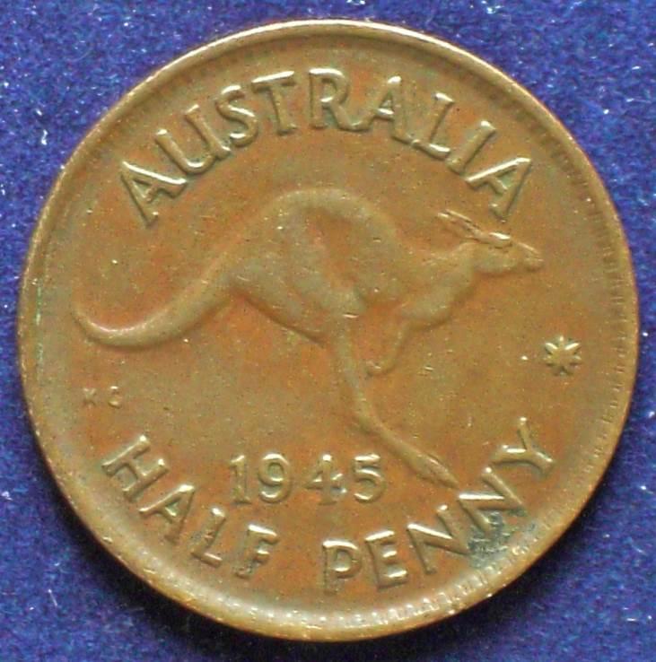 1945 Australia Half Penny - King George VI