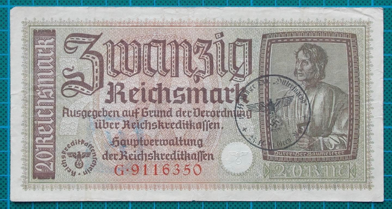 1945 REICHSKREDITKASSEN 20 MARK G9116350