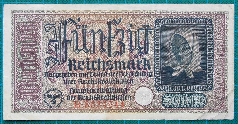 1945 REICHSKREDITKASSEN 50 MARK B8634944