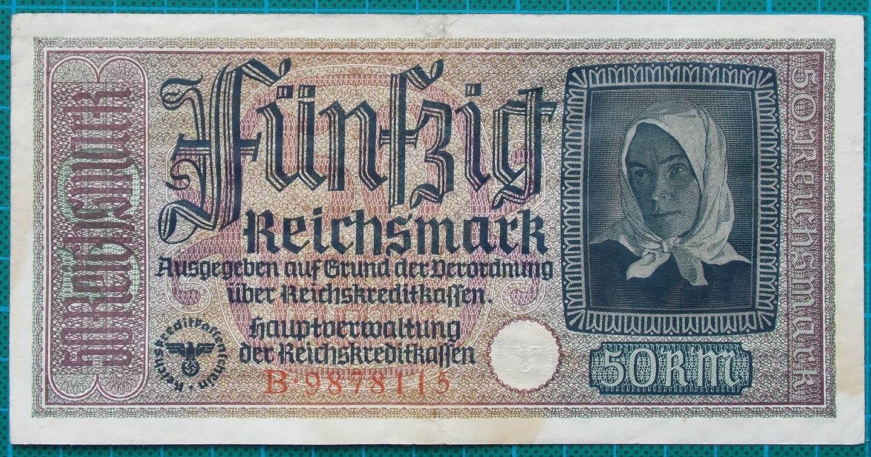 1945 REICHSKREDITKASSEN 50 MARK B9878115