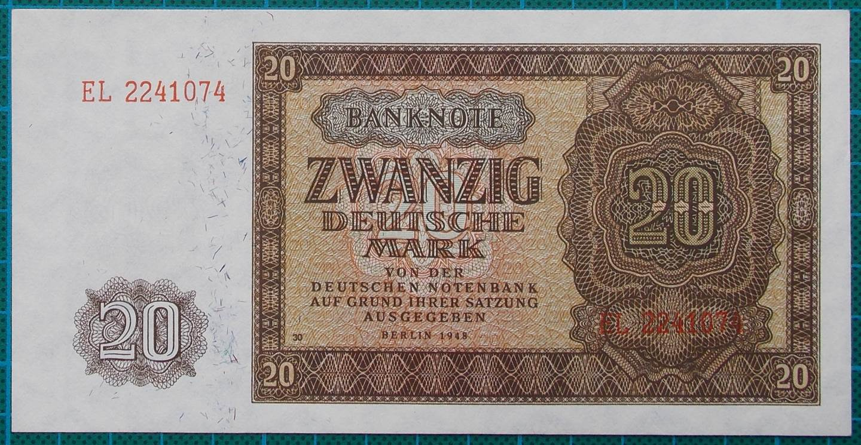 1948 NOTENBANKNOTE 20 DEUTSCHE MARK EL2241074