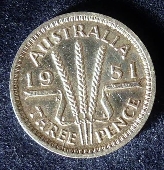 1951 Australia Threepence - King George VI -A