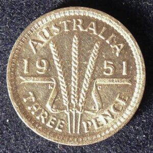 1951 Australia Threepence - King George VI -B